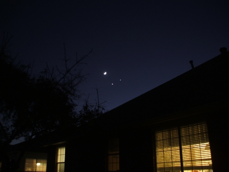 Conjunction of the moon, Venus and Jupiter, December 2, 2008