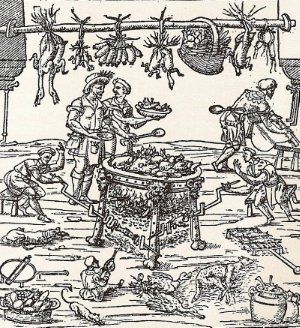 A Ferrarese court kitchen in the sixteenth century, from Libro Novo by Cristoforo di Messisbugo