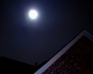 The full moon of February 9, 2009, photographed through a haze of clouds at Casa Loupas