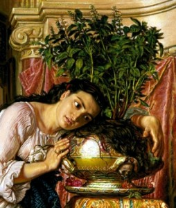 Detail of Isabella and the Pot of Basil, by William Holman Hunt. In the collections of the Tyne & Wear Museums, Tyneside and Wearside, Newcastle, United Kingdom.